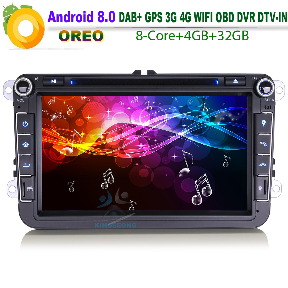 "8""Android 8.0 DAB+ Car GPS WiFi 4G RDS BT Autoradio USB DVR DTV-IN Car Radio player For VW Scirocco Polo V 6R Multivan T5 SatNav"