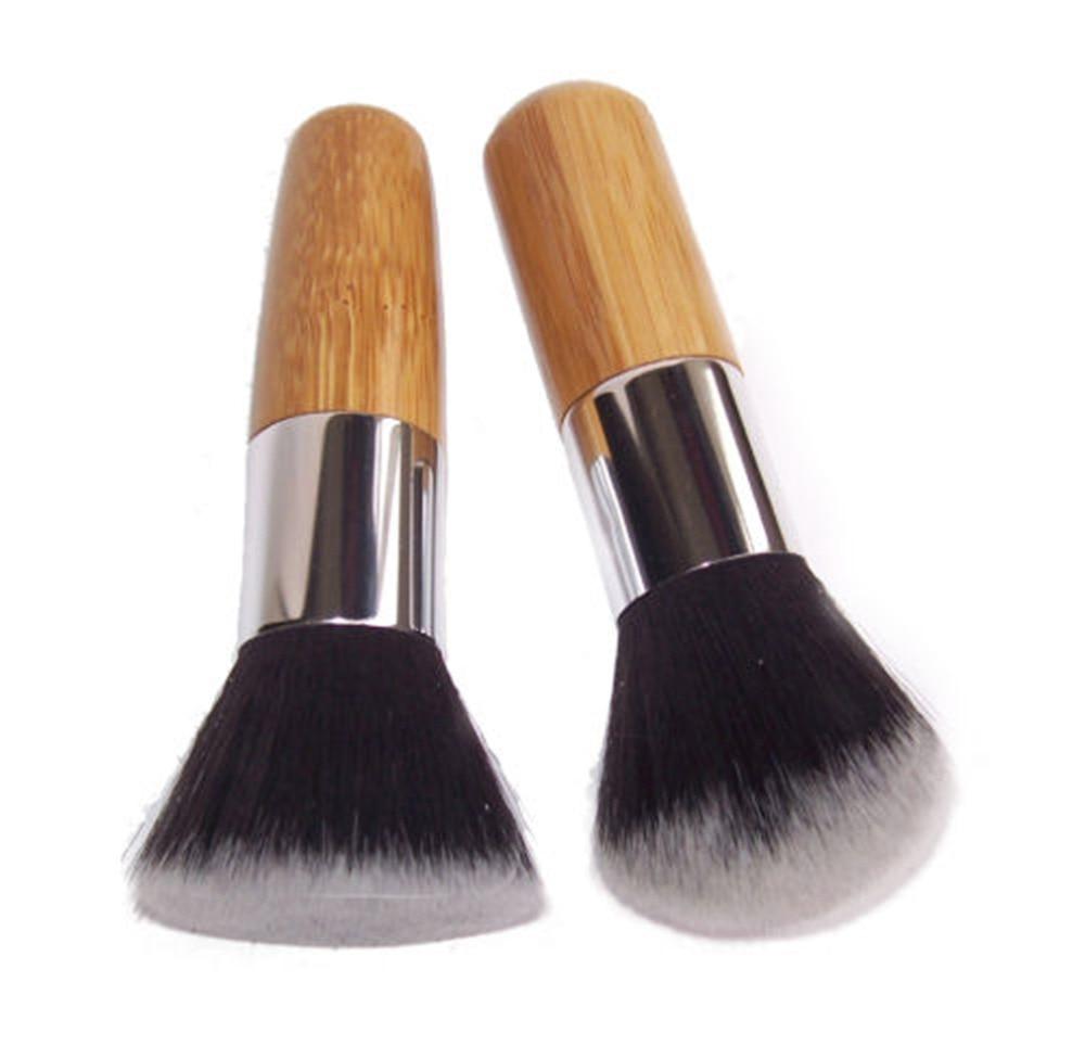 1pc Wood Handle Flat Top Brush Buffer Cosmetic Makeup