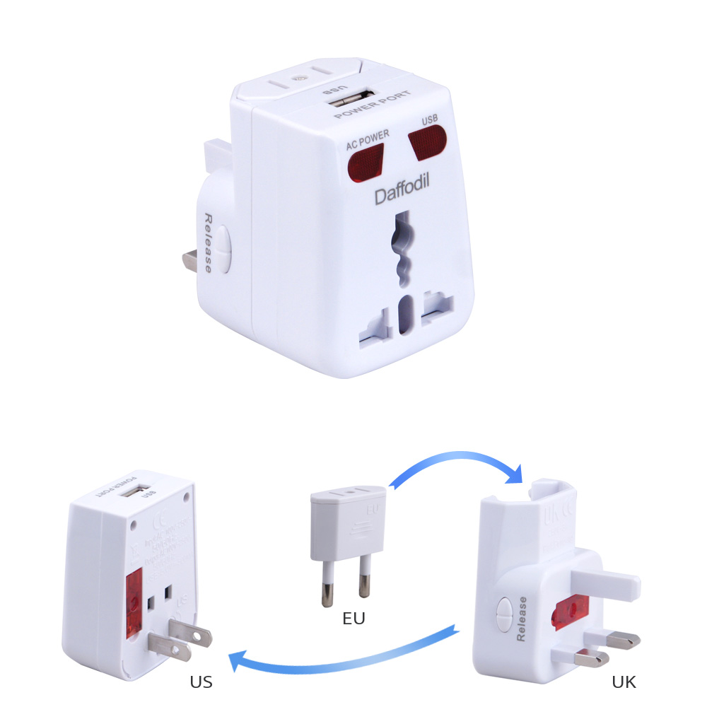 Daffodil WAP150 Universal International Travel Power Adapter and USB Charger Adapter with EU+US+UK Converter Plug