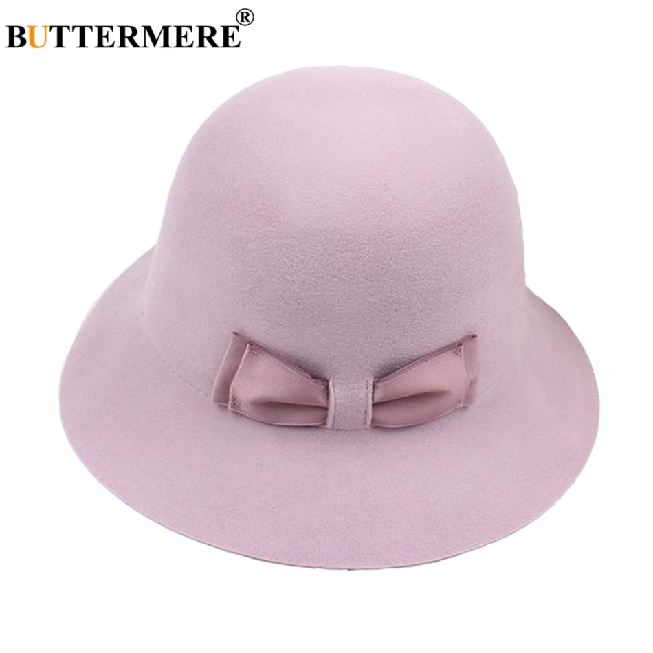 3fc91751841 BUTTERMERE Fedora Hat For Woman Wool Felt Hats Purple Winter Fedoras Ladies  Elegant Bowknot British Warm