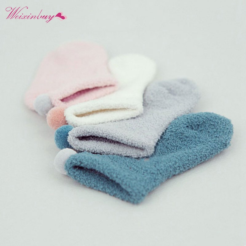 Toddler Newborn Kid Boys Girl Velvet Socks Winter Thick Warm Non-slip Coral Fleece Socks