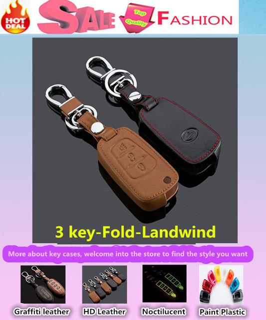 De calidad superior cubierta de diseño de coches detector de cuero de vaca de llaves casos llavero cadena inteligente / plegable especial para Landwind x5 x8
