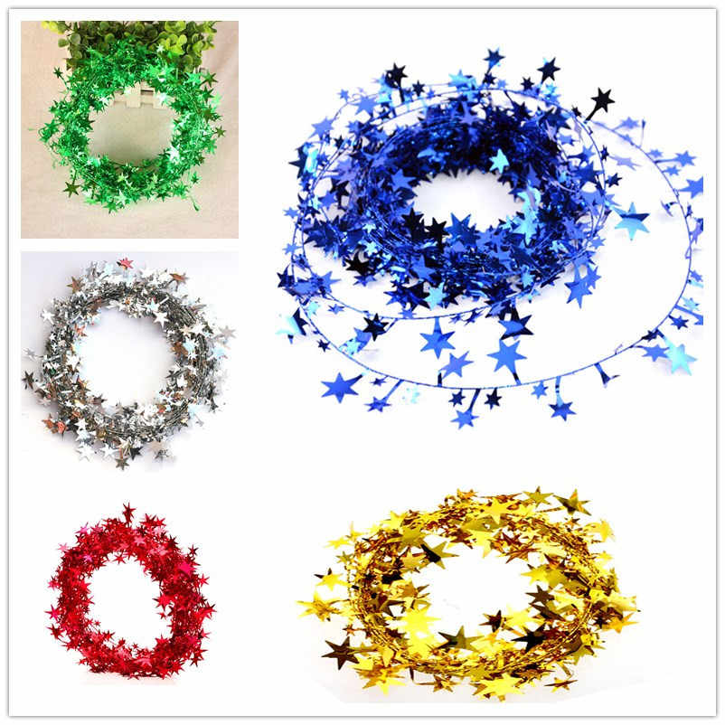5 M Hanging Star Pine Tinsel Garland Christmas Decoration Ornament Garland Christmas Decoration Christmas Tree 5Colors