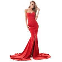 2019 Sexy sin tirantes sirena vestido largo partido frontal Bodycon espalda descubierta rojo hasta el suelo vestido largo