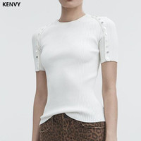 KENVY Brand Fashion Women's High end Luxury Summer Slim Beaded Short sleeved Thin knitted T Shirt Tees Top