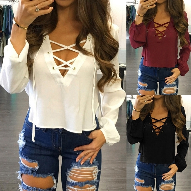 ae486c7b573 US $4.59 19% OFF|Womens Long Sleeve Shirt Lace Up Loose Chiffon Blouse  Cropped Tops Deep V Neck Girl Sexy Solid Tops Pullovers New Fashion-in  Blouses ...