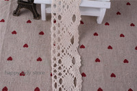 100 Yard 40mm Beige color LOVELY CENTER OVAL COTTON/CLUNY LACE Trim