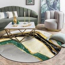 Ins moda modern soyut halı Mürekkep boyama Altın çizgi Yuvarlak halı kadife peluş baskı Oturma odası yatak odası kaymaz zemin mat