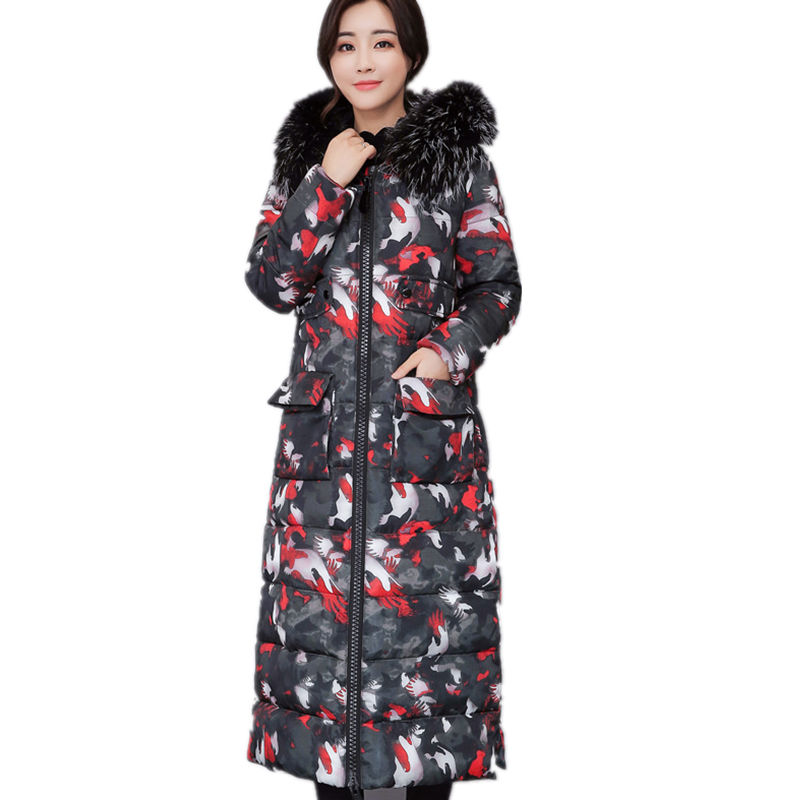 Winter Jacket Women Camouflage Maxi Coats Hooded Over Knee Long Jacket Parka Chaqueta Mujer Fur Collar Winter Coat Women C3741 maxi coats thicken winter jacket women 2017 fur collar over knee long winter jacket parka warm cotton coat chaqueta mujer c2601