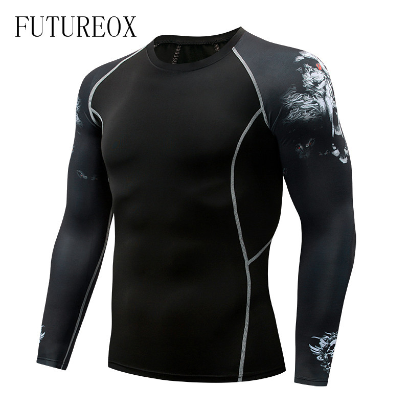 Men's New Compress Shirt MMA Fitness T-shirt Fashion 3D Teen Wolf Long Sleeve Shirt Bodybuilding Crossfit Brand Apparel Fitness