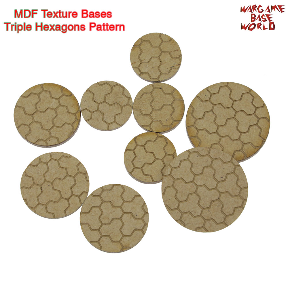 MDF Texture Bases - 25mm - 40mm Round Triple Hexagons Pattern Bricks Texture Bases - Laser Cut Wood