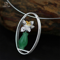 Lotus Fun Brand 925 Sterling Silver Pendant for Women Green Aventurine Fine Jewelry Vase Flower Pendant without Chain Dropship