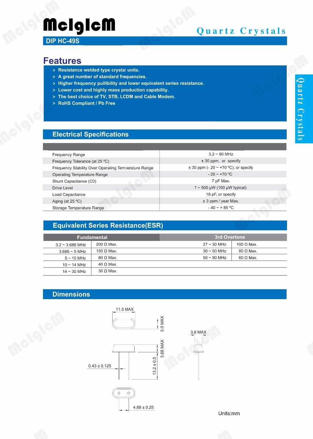 1000pcs hc-49s 7.3728MHz 20ppm 20pF quartz resonator