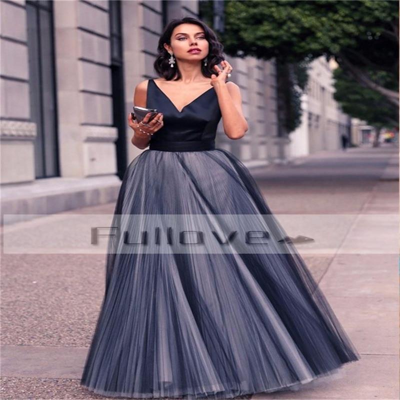 Modern Black V-Neck Satin Long   Prom     Dresses   2019 Draped Tulle A-Line Formal   Dress   Robe De Soiree Vestido Longo Para Casamento