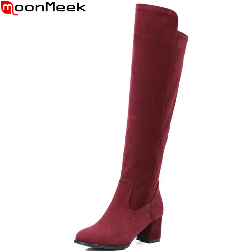 MoonMeek concise women knee high boots for women plain square heels round toe winter leopard flock leather fashion boots concise flock and round toe design pumps for women