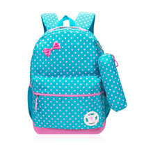 Brand New Nylon Girls School Bags With Pencil Bag Primary Children Backpack Kids Bag Fashion Dot