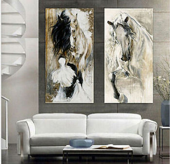 100%hand-painted abstract oil painting horse walking elegant on canvas no framed