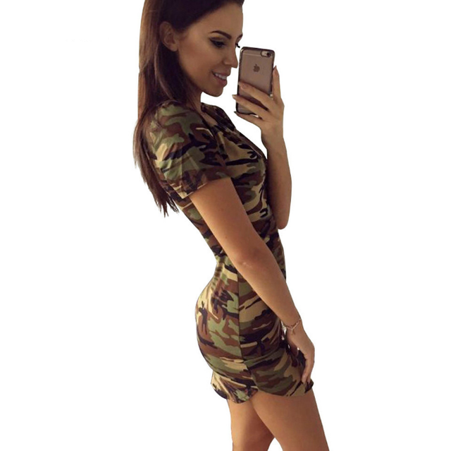 65a6d2d73 2018 moda mujer verano Vestido de manga corta Sexy Mini Vestidos de camuflaje  verde imprimir Vestido