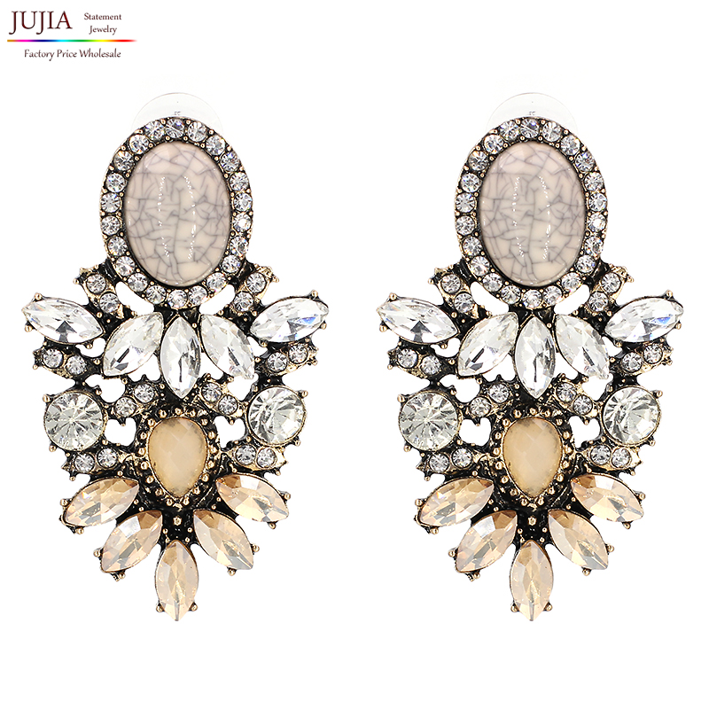 JUJIA Brand Trendy Big Crystal Statement Earrings Wedding Earrings Women Party Hanging Earrings Jewelry Wholesale