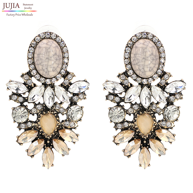 Jujia Trendy Fashion Jewelry Whole Good Quality Crystal Earrings 2018 New Statement Stud