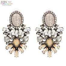 JUJIA trendy fashion jewelry Wholesale good quality big crystal earrings 2019 New statement fashion stud Earrings
