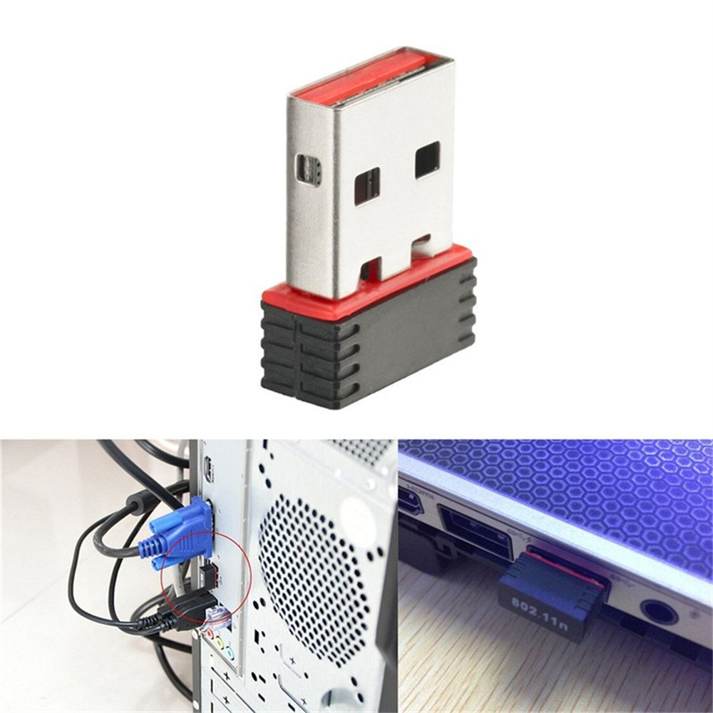 Mini USB 2,0 802.11n 150Mbps adaptador de red Wifi para Windows PC Linux 18mm x 15mm x 6mm para Windows Vista/XP/2000/7/MAC/Linux