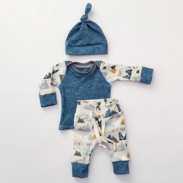3pcs Baby Boys Girls Kids Clothes Set Newborn Infant Tops T-Shirts Long Sleeve Pants Casual Hat Bodysuit Outfit Clothing Set