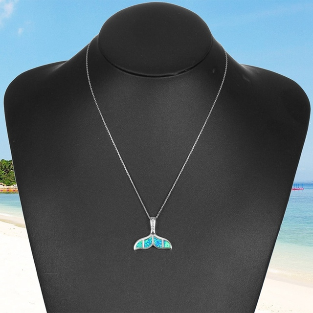 Blue Opal Crystal Mermaid Whale Tail Pendant Necklace