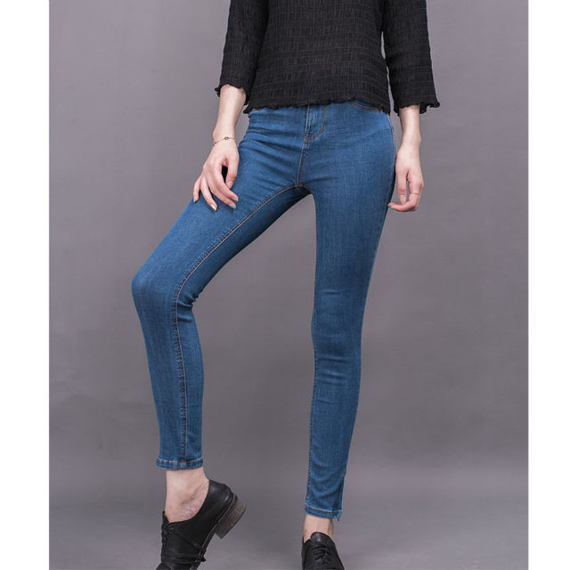 8007 Trenjoy Women Denim High Waist Slim Zipper Fly  Pockets Cotton Pencil Pants Stretch Dark Blue Skinny Female Jeans  LAYS