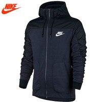Nike esportes dos homens novo Blazer solto Com Capuz Jaqueta de Gola Azul Escuro Preto