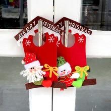 Christmas Door Decoration Doorplate Santa Claus Snowman Christmas Drop Ornaments adornos navidad 2016