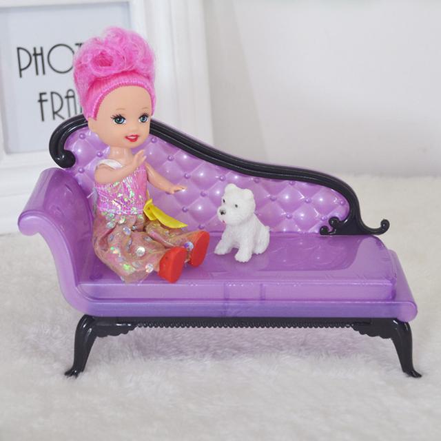 Luxury Mini Purple Sofa For Doll House