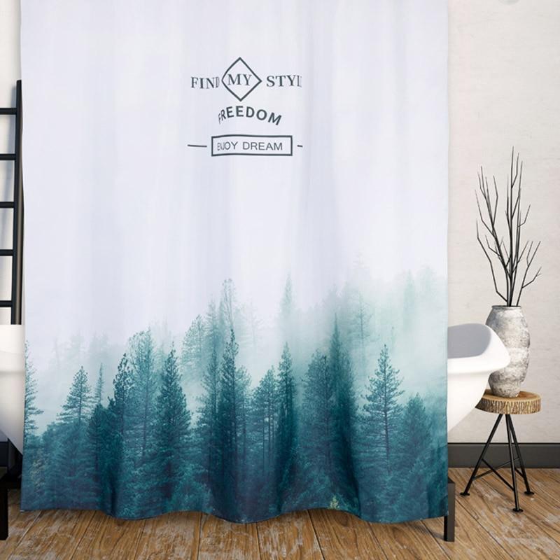 Orange Design Bathroom Shower Curtain Waterproof Decorative Fabric Scenery Nature 180x180