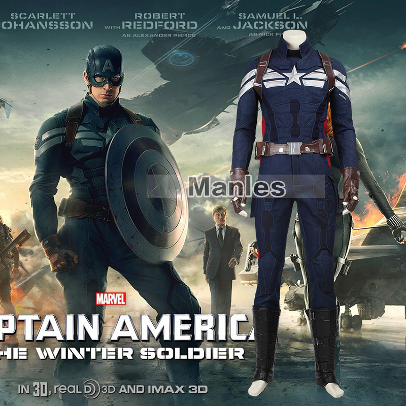 The Winter Soldier Steve Rogers Costume Cosplay Captain America 2 Superhero Suit Clothing Adult Halloween Carnival Costume Men