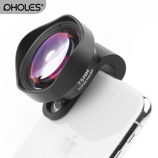 Pholes 75 MM נייד מאקרו עדשת טלפון מצלמה מאקרו עדשות עבור iPhone Xs Max XR X 8 7 סמסונג S9 s8 S7 Piexl קליפ על 4 K HD עדשה