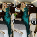 2015 Hot Women Sexy Mermaid Long Sleeves Beyonce Sequins Celebrity Dresses
