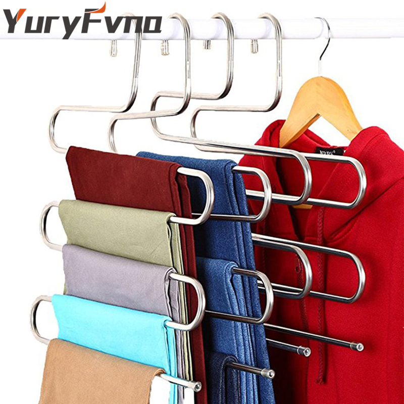 YuryFvna Stainless Steel Pants Hanger S-Type Multi-Purpose Hangers S-Shape Storage Rack for Clothes Pants Jeans Scarf Tie Towel
