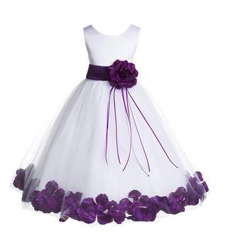 Rose Petals White Flower Girl Dresses Pageant Dress Baptism Dress Wedding Formal Occasion Party Dress