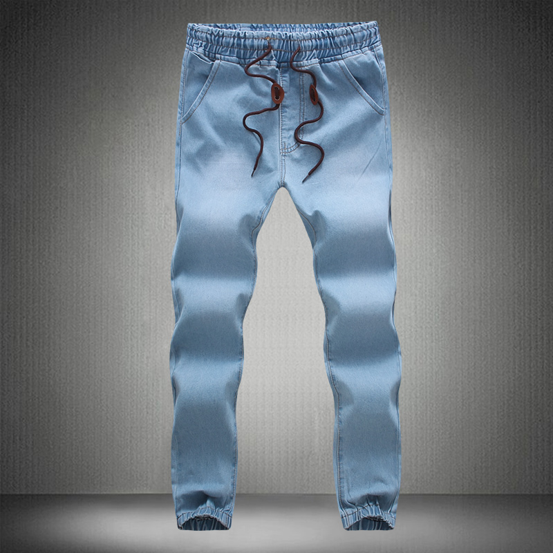 LEFT ROM 2018 high-grade men Thin body long The cowboy Trousers / male leisure comfortable stretch Waist circumference trousers