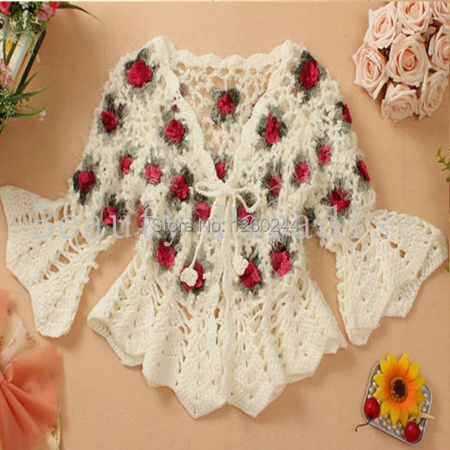 Handmade Crochet Sweaters Coat 2015 Women Mohair Rose Floral Hollow Out  Flare Sleeve Short Cardigan femininas