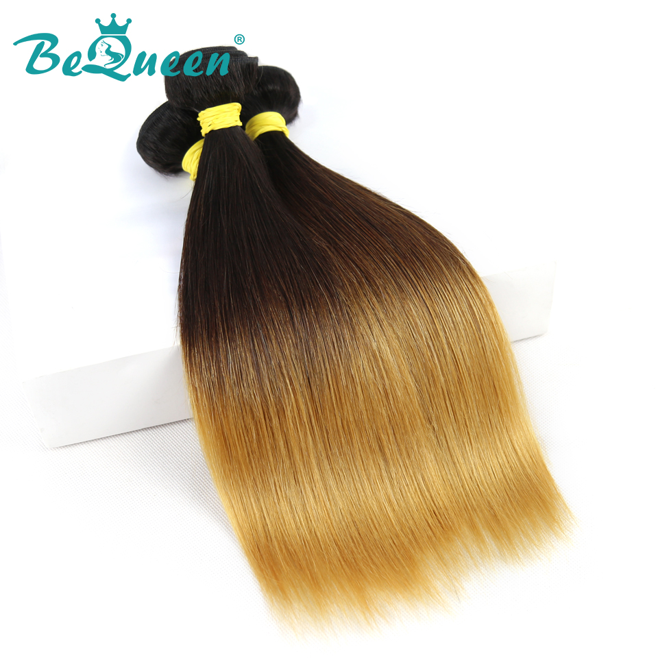 BeQueen Brazilian Virgin Hair Straight Wave Ombre Color 1B 4 27 Machine Double Weft Human Hair