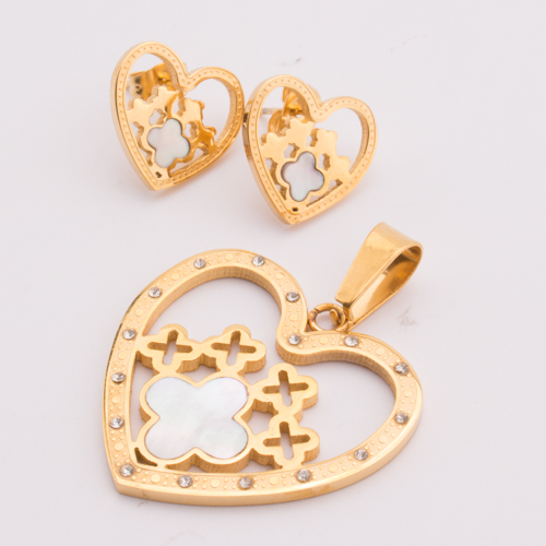 TL Heart Golden Jewelry Sets For Women Colorful Zircon Wing Butterfly Necklace&Earrings Fashion Stainless Steel Jewelry