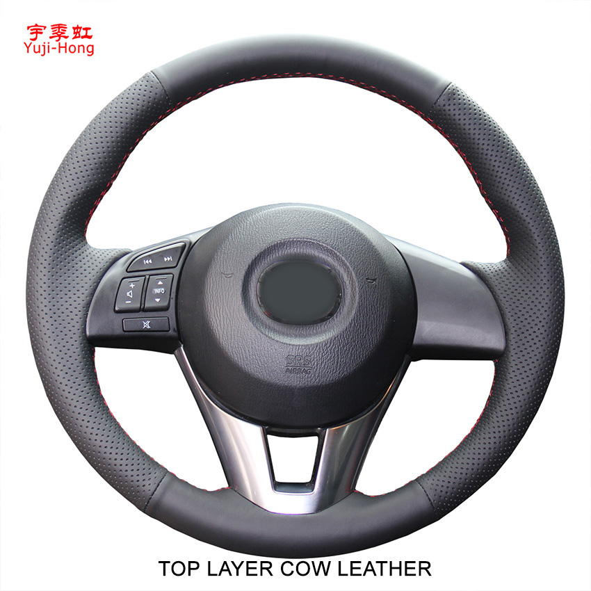 Yuji-Hong Top Layer Genuine Cow Leather Car Steering Wheel Covers Case for MAZDA CX-4 CX-5 Mazda 3 Axela Atenza Hand-stitched