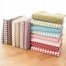 Клетчатая ткань в горошек из хлопка и льна с метровым принтом, домашний декор, скатерть для штор, хлопковая ткань