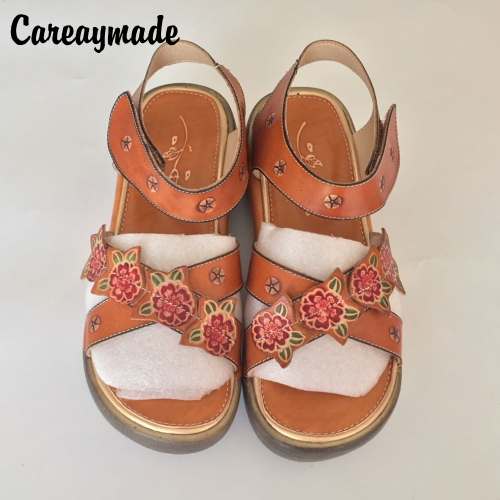 Careaymade-2017 new Folk style Head layer cowhide pure handmade Carved shoes,the retro art mori girl shoes,Women's casual Sandal 2017 fcfb gold color glossy 3k matt ud