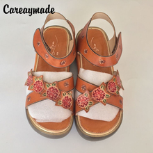 People cool drag 2015 new summer sandals Leather Handmade Sandals muffin Velcro beach shoes