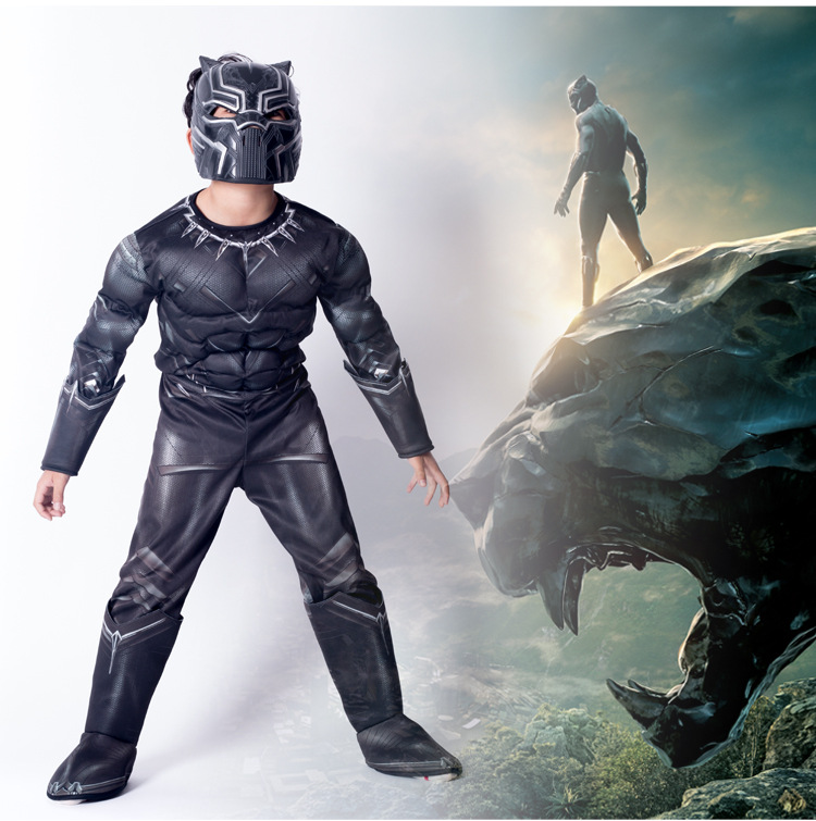 Kids Black Panther Muscle Costume Superhero Halloween Fancy Dress Boys Marvel Superhero Cosplay Carnival Party Jumpsuit