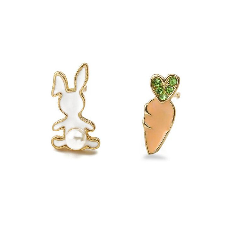 Lovely Asymmetric Alloy Stud Earrings Women Animals Rabbit Monkey Carrots Banana Shapes Earring For S Children Jewelry In From