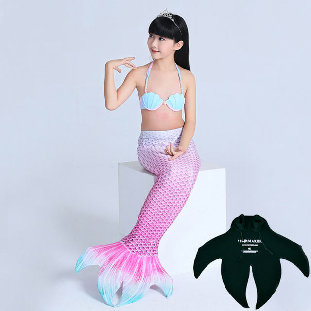 Girls Mermaid Tail Costume Kids Mermaid Tails For Swimming With Monofin  Children Swimmable Mermaid Bikini Set Top+Tail+Monofin d06bf7c1fd61
