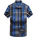 Летние Мужчины Моды Случайные Плед С Коротким Рукавом Плюс Размер camisas M005 XXL-6XL